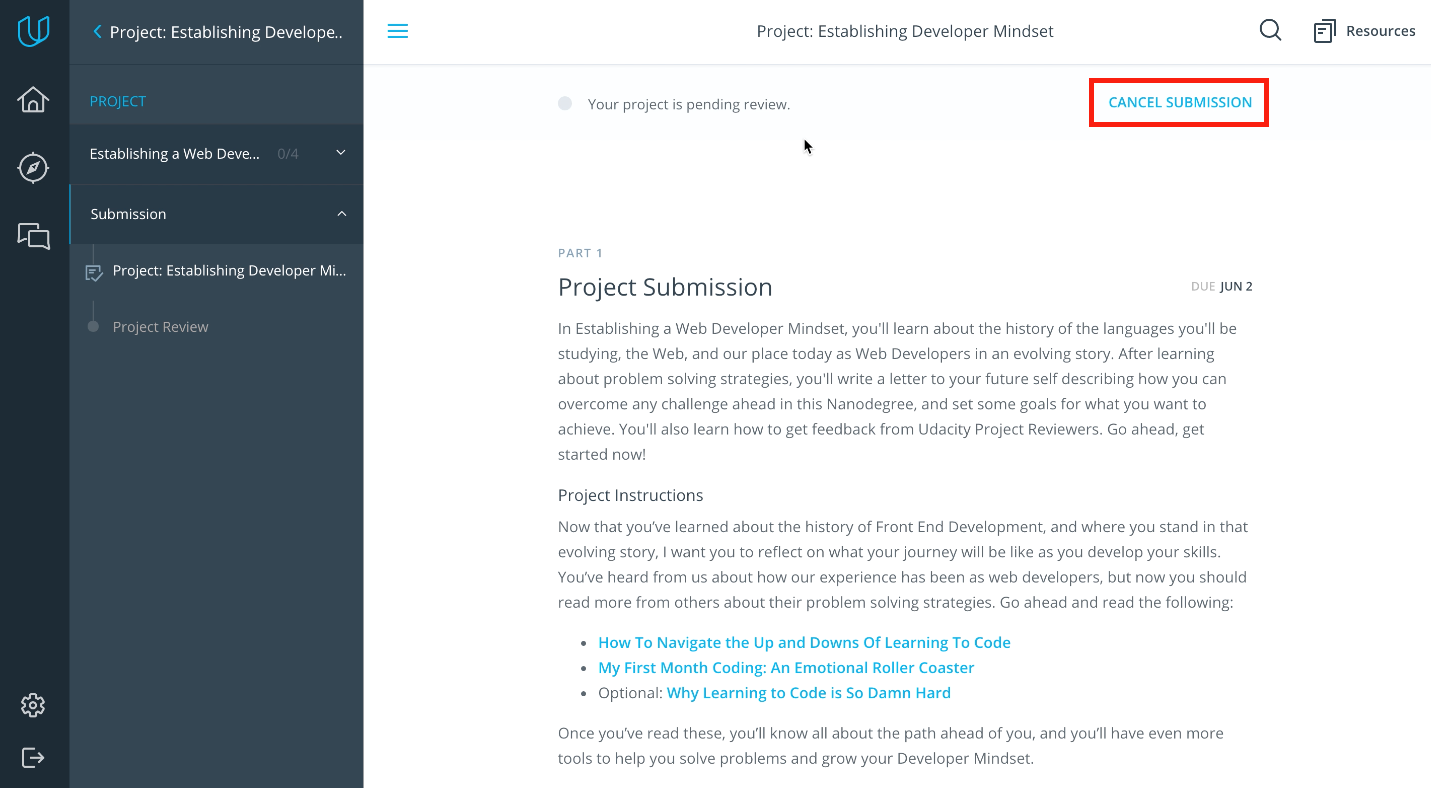 How Do I Cancel A Project Submission Udacity Support