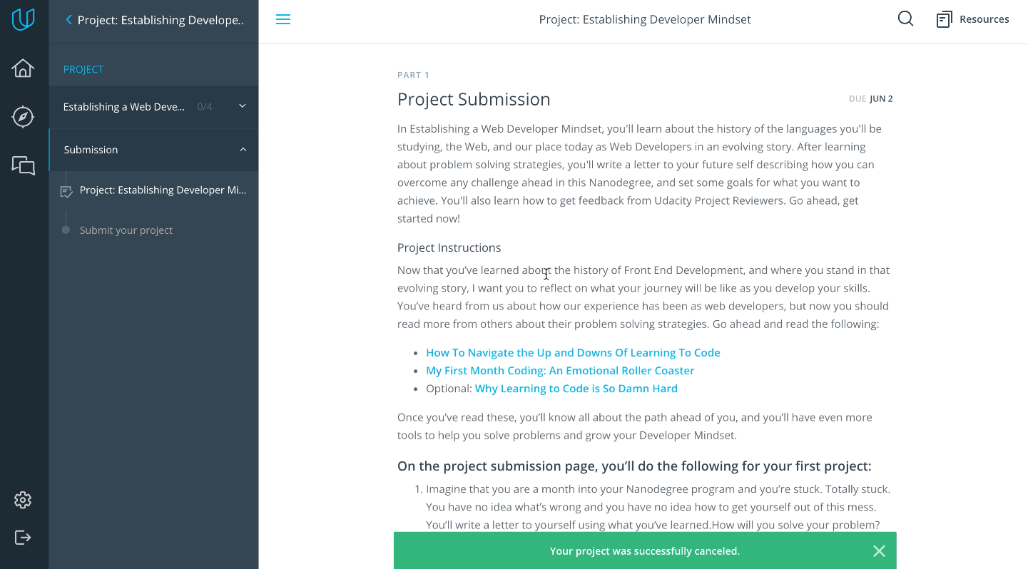 How do I cancel a project submission? – Udacity Support